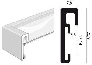 profil et coupe cadre ALPHA aluminium anodisé